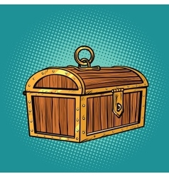 Pirate wood treasure chest closed vector image
