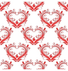 Seamless pattern ornate floral hearts vector image vector image