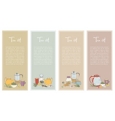 set with tea flyer collection of vertical banner vector image vector image