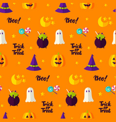 trick or treat seamless pattern vector image vector image