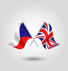 two crossed czech and british flags vector image vector image