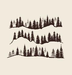 vintage engraving forest doodle sketch fir-trees vector image