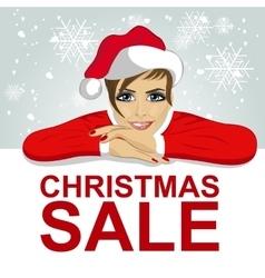 woman in santa hat leaned on blank board vector image vector image