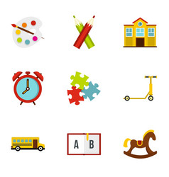 Education icons set flat style vector
