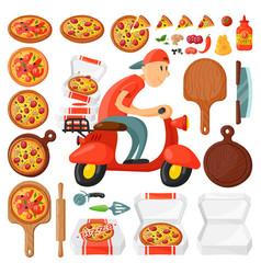 italian cook pizza delivery boy pizzeria cartoon vector image