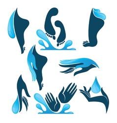 life in water clean hands and feet vector image