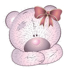 Pink bear with bow vector image vector image