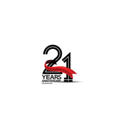 21 years anniversary logotype flat black color vector