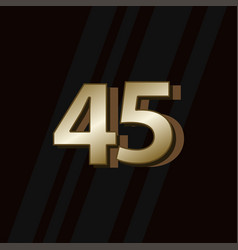 45 years anniversary gold elegant number template vector