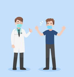 A healthy strong patient hospital room vector