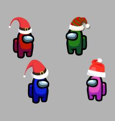 among us game with christmas hats vector image