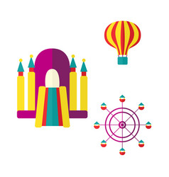 balloon bouncy castle and ferris wheel icon set vector image
