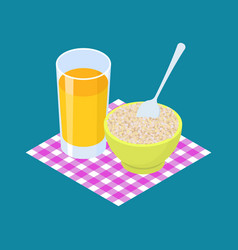 barley porridge and fruit juice breakfast healthy vector image