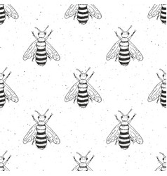 Bee hand drawn seamless pattern monochrome vector
