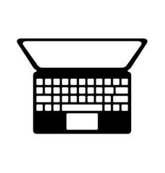 black icon laptop cartoon vector image