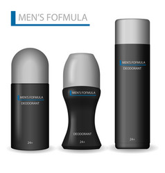 body care products for men realistic set of black vector image