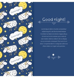 border with images cute sheep on background night vector image