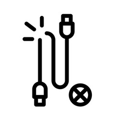 Cable breakdown icon outline vector