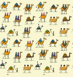 Camels caravan seamless pattern for your design vector