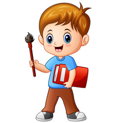 cartoon boy holding a brush and book vector image