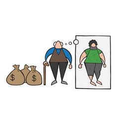 Cartoon rich old man with dollar money sacks but vector