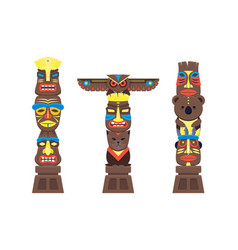 Cartoon traditional religious totem color columns vector