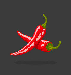 Chili peppers icon isolated red paprika mexican vector