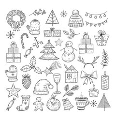 christmas doodle set sketch wreath fir vector image