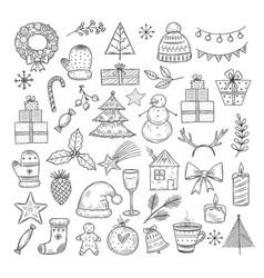 christmas doodle set sketch wreath fir vector image