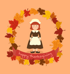 Circle autumn leaf thanksgiving girl greeting card vector