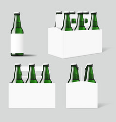 Clear six green beer bottles white pack vector