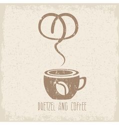 coffee cup and pretzel grunge design template vector image