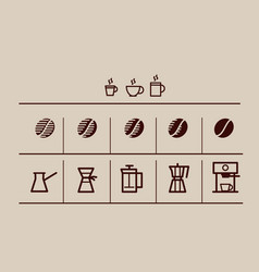coffee grain and making coffee icons set vector image