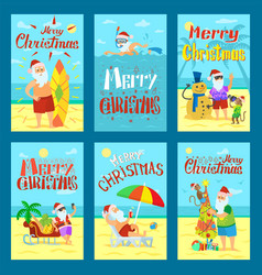 collection of merry christmas holiday cards vector image