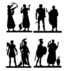 Collection of silhouettes of the Greek soldiers an vector