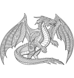 coloring book page with dragon on white background vector image
