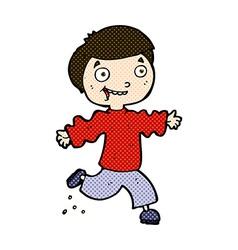 Comic cartoon excited boy vector
