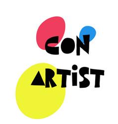 Con artist stamp on white vector