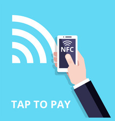 contactless payment flat icon mobile vector image