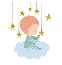 Cute baboy over cloud and stars design vector