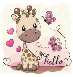 Cute cartoon giraffe and butterflies vector