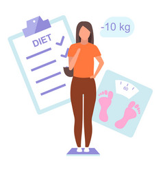 Diet plan and result flat young woman vector