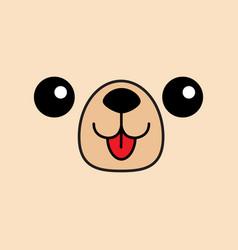 Dog happy square face head icon contour line vector