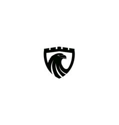 Eagle head on shield silhouette logo design vector