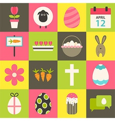 Easter flat stylized icon set 3 vector