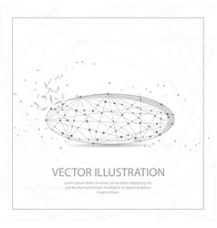 ellipse shape digitally drawn low poly wire frame vector image