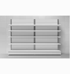 empty store shelves set retail supermarket rack vector image