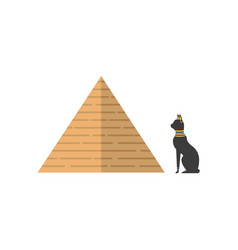 Flat egypt pyramid and black cat icon vector