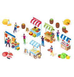 flea market counters or bazaar stall marketplace vector image
