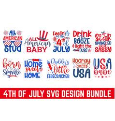 Fourth july calligraphy graphic design svg bund vector